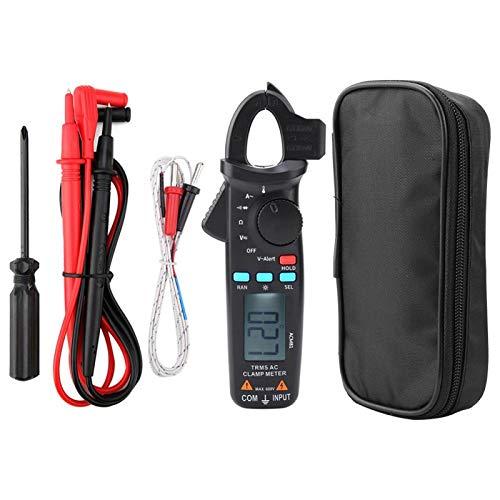Pinza amperimétrica, ACM81 Pinza amperimétrica digital Valor eficaz verdadero Medidor de 2000 recuentos Probador de voltaje de corriente de rango automático Prueba de temperatura Funciones de retenció