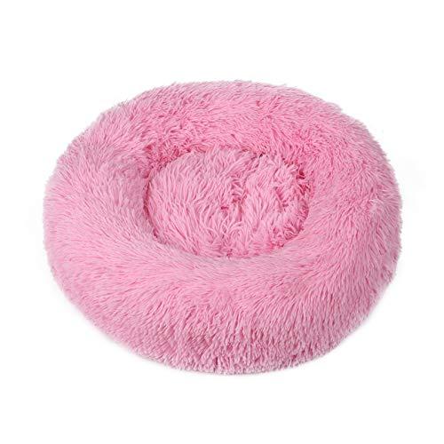 Cama para mascotas Decdeal, cama para perros y gatos, redonda, de felpa, sofá para perros y gatos, cojín en forma de rosquilla