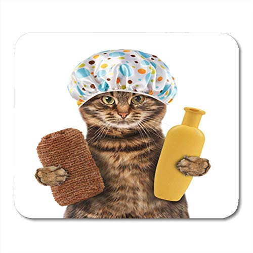 Semtomn Rechteck Mauspad Gummi Mini Lustige Katze Zubehör für Badewanne auf Es wird zu waschen halten Schwamm Mousepad Smooth Gaming Notebook Computerzubehör Backing
