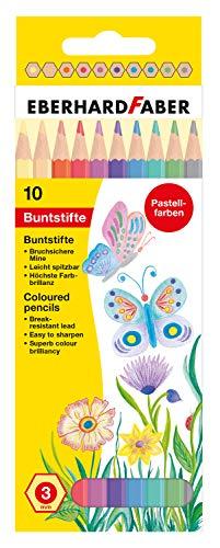 Buntstifte in Pastell Farben, hexagonale Form, 10er Kartonetui