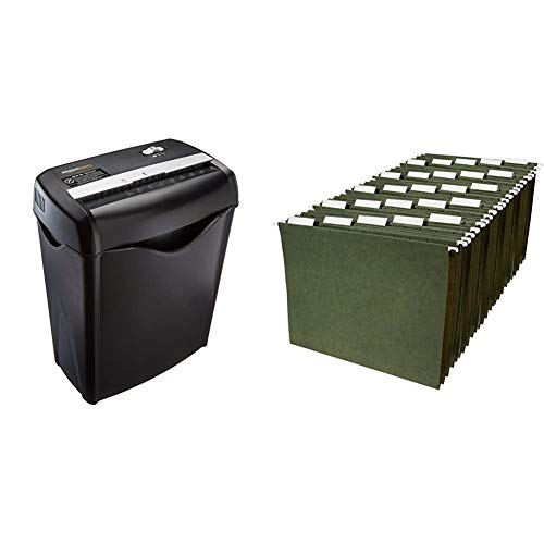 AmazonBasics 6-Sheet Cross-Cut Paper and Credit Card Home Office Shredder & Hanging Organizer File Folders - Letter Size, Green - Pack of 25