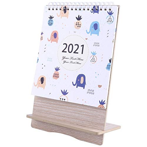 Tomaibaby 2021 Standing Calendar Portable Desk Daily Monthly Coil Calendar Personal Schedule Book Dating Reminder Paper Calendar for Home Office Decor Style 2