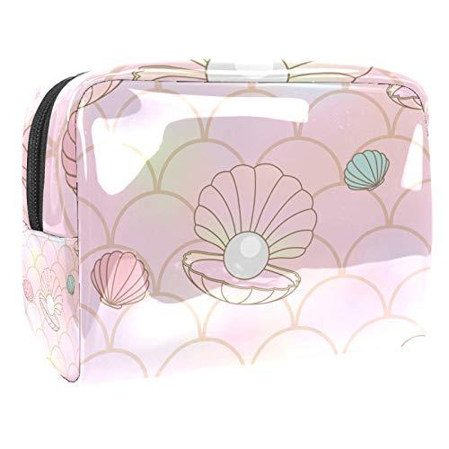 Bolso de Cosméticos Escamas de Sirena de almeja Rosa Viaje de Maquillaje Organizador de Almacenamiento Cosmético de la Bolsa de Trabajo Impermeable para Las Mujeres 18.5x7.5x13cm