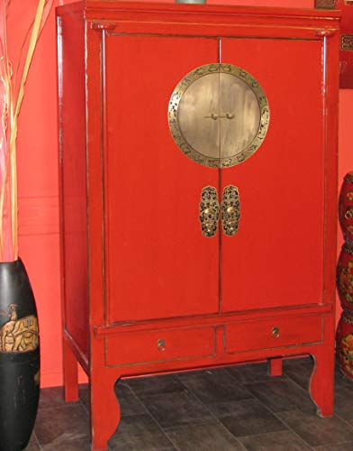 OPIUM OUTLET Armario Chino Boda Shabby-Chic Asiatico Vintage Oriental Colonial Madera Dormitorio Salon