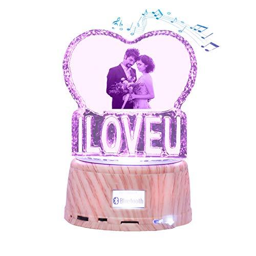 7 Colores Con Foto Grabada Y Nombre Cristal Heart Music Lámpara Bluetooth Led Night Light Marco De Fotos Único Día De San Valentín Aniversario Ideas De Cumpleaños Para Niños Mujeres Iloveu
