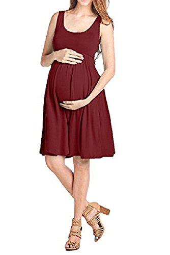 Allence Damen Tank Umstands-Kleid Stillen Skaterkleid Umstandsmode Kleid Schwangerschafts Sommerkleid 2in1 Stillkleid Minikleid Ärmellos Kleid