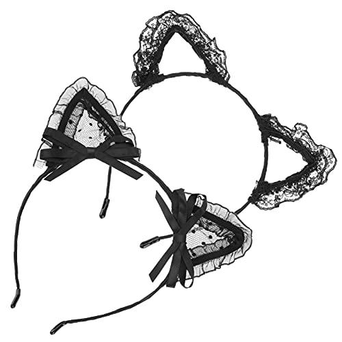 Beaupretty 2 Piezas de Encaje Orejas de Gato Diadema Orejas Aros para El Cabello Lindas Bandas para El Cabello Accesorios de Encaje para El Cabello de Uso Diario Decoración de Fiesta