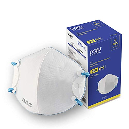 N95 Respirator Mask, DOBU MASK model 500, Medium Size, NIOSH Certified, 10 masks, Adjustable Head Straps