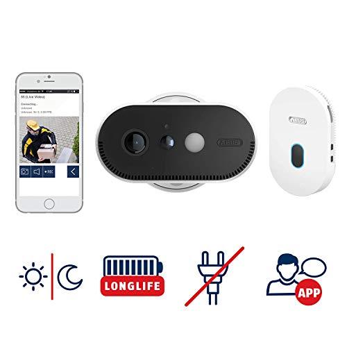 ABUS Akku-Überwachungskamera PPIC90000 WLAN HD Kamera für Innen und Außen mit Basisstation - 120 Grad Blickwinkel - 100{80162c3333e86154bde00d62070ea4ad6008bdd6d45b122fbc5ee2537b835faa} kabellos -  weiß - 87913