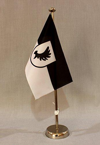 Buddel-Bini Ostpreussen Elch Geweih Ostpreußen 15x25 cm Tischflagge (CH) mit 42 cm Chrom Tischflaggenständer, edle Ausführung