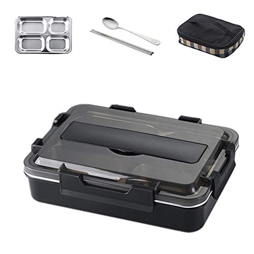 DONG Lunch BoxStainless Steel Lunch Box with Spoon Leak-Proof Bento Box Cutlery Set Microwave Oven Adult Children Food ContainerBig Black with Bag