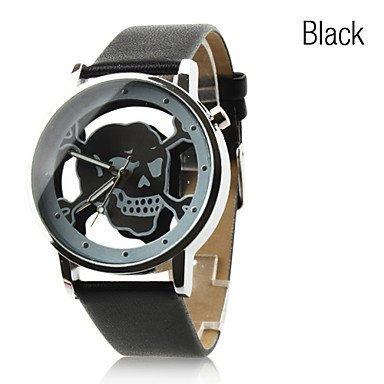 Armbanduhren Uhr mit Hohl Gravur, Totenkopf Motiv (Farbe : Schwarz, Großauswahl : Einheitsgröße)