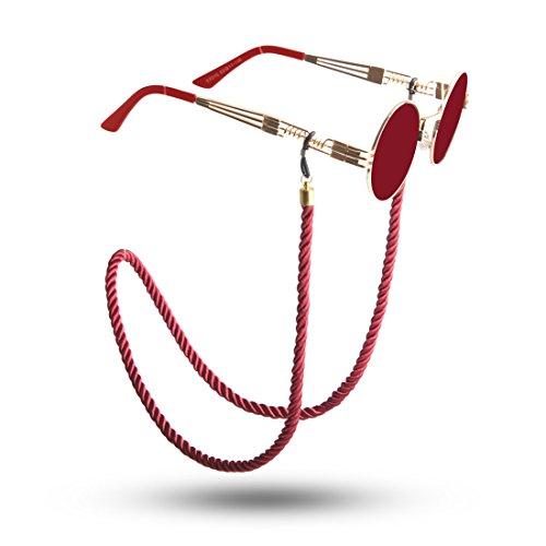 Kalevel 眼鏡 ストラップ チェーン メガネ ホルダー めがね ストラップ コード フレーム ホルダー めがね アクセサリー 母の日 誕生日 プレゼント 贈り物 女性のため(ワインレッド)