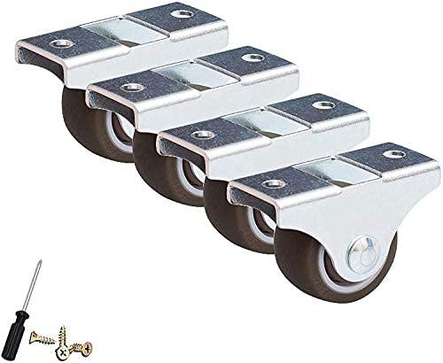 Castorhjul Möbler Ersättning Caster Hjulriktningsruta Caster Wheel Gummi Wheels Universal Castor Trolley Wheels, med metallplatta Små mini hjul, med skruv, 4st (storlek: 32mm / 1,25in)