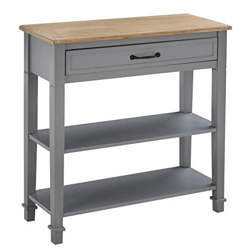 HOMCOM Retro-Styled Sofa Console Entry Hallway Table with Multifunctional Design, Durable Build, & Large Storage, Grey