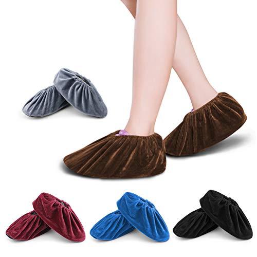 FOCCTS 5 Paare Schuhüberzieher Anti-Rutsch Sohle 5 Farbige Flanell Schuh Bedeckung Staubfrei Überschuhe für Haushalt Wiederverwendbar&Waschbare