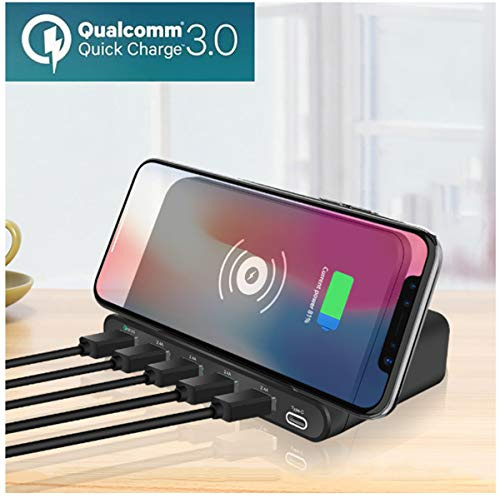 Quick Charge 3.0 Usb Type C Hub Pd Qi Cargador Inalámbrico 60w 7 En 1 Adaptador De Teléfono Para Macbook Iphone Samsung Huawei Xiaomi Airpods, Tipo De Enchufe De La Ue
