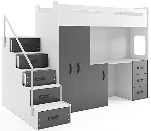 Interbeds MAX 4 - Cama Alta (200 x 80 cm, con Armario y Escritorio, Incluye colchón) gris