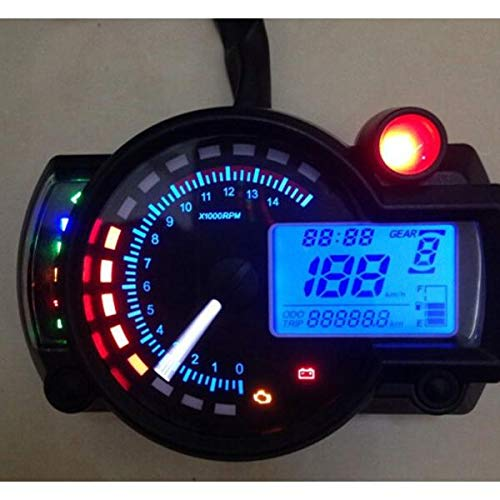 JHONG Motocicleta Ajustable Speedómetro Digital Motorbike Speedometer mph Speedometer Instruments LCD Digital Odometer