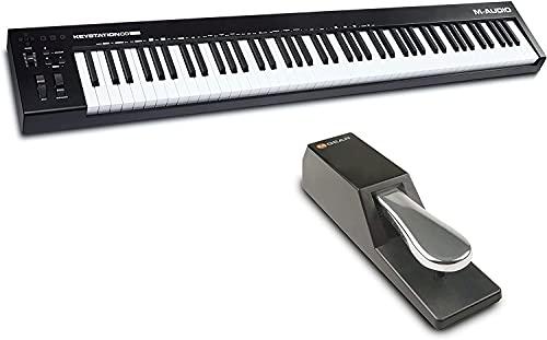 M-Audio Keystation + Sustain Pedal Bundle - Keystation 88 MKIII MIDI Keyboard Controller mit 88 halbgewichteten Tasten + SP-2 Universal Sustain Pedal