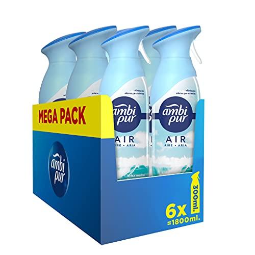 Ambipur Ambientador Casa Spray, 1.8 L (6 x 300 ml), Elimina los Malos Olores, Fragancia Brisa Marina, Mega Pack