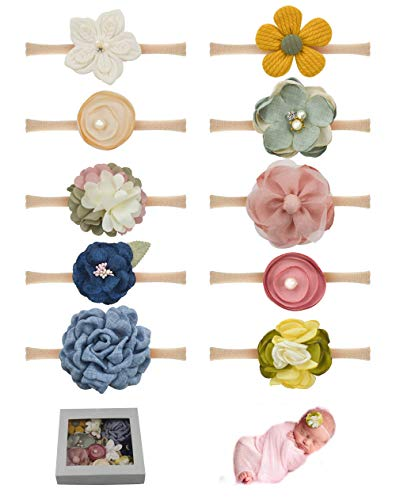 Baby Girls Flower and Bows Headbands Floral Hair Bands Nylon Elastic 10PCS for Newborn Infant Toddlers by JIAHANG