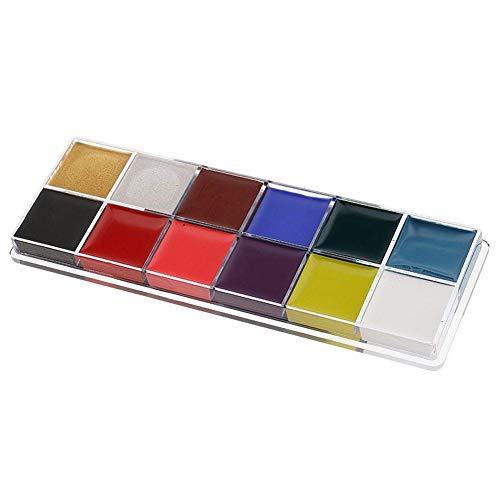 TOOGOO 12 Couleur Visage Art Corporel Peinture Maquillage Palette Pour Fete Halloween Fantaisie Robe