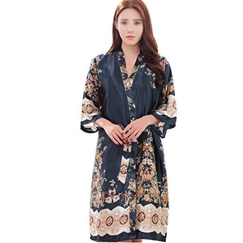 AXIANQI voorjaar en herfst zomer paar satijn korte mouwen pyjama's donkerblauwe druk lang nachthemd A