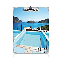 クリップボード 家の装飾 プレゼントA4 バインダー ビューのある島のクレタ島ギリシャのテラスターコイズブルーの海の装飾的なスイミングプールホテル 用箋挟 クロス貼 A4 短辺とじ