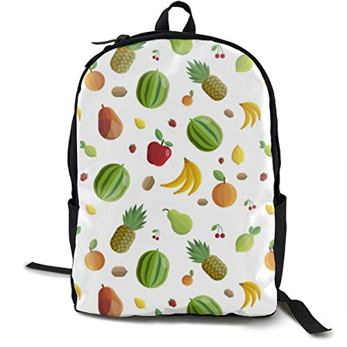 Fruits-Pattern Travel Computer Bag Laptop Backpack Unisex, School College Fits 15'' Laptop