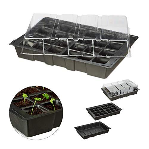 Relaxdays Mini Serre, 24 cellules, pour l'intérieur, Couvercle Transparent, bac de semis avec Trous, Plastique, Noir