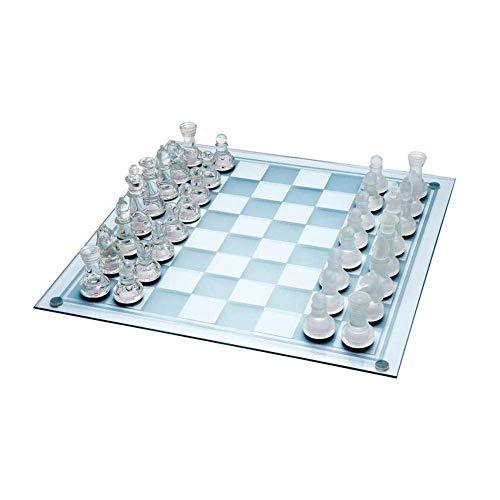 Luckystar4you Juego de ajedrez de Cristal Esmerilado, Ajedrez de Cristal Juego de ajedrez Grande de 35cm X 35cm, Piezas de Vidrio Esmerilado y Transparente y Tablero de Vidrio