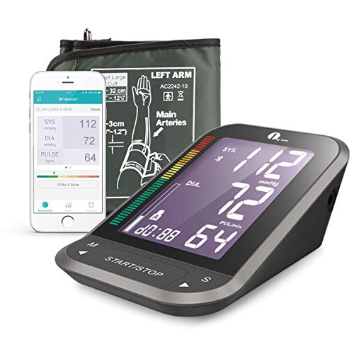 1byone Oberarm-Blutdruckmessgeräte, Wireless Digitale Oberarm-Blutdruckmessgeräte mit Arrhythmie -Erkennung und Pulsmessung, mit Einknopfbedienung und großem Display, Manschettengrößen(22-32cm)