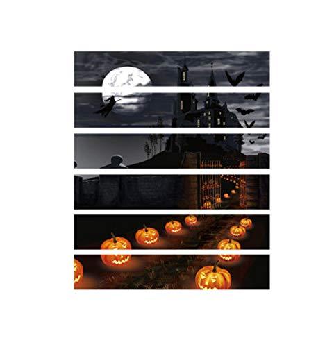 xingtuwaimao Halloween 3D Wallpaper Nacht Kürbis Lampe Schloss Treppe Aufkleber Raumdekoration Originalität Wohnkultur Nightmare Before Christmas