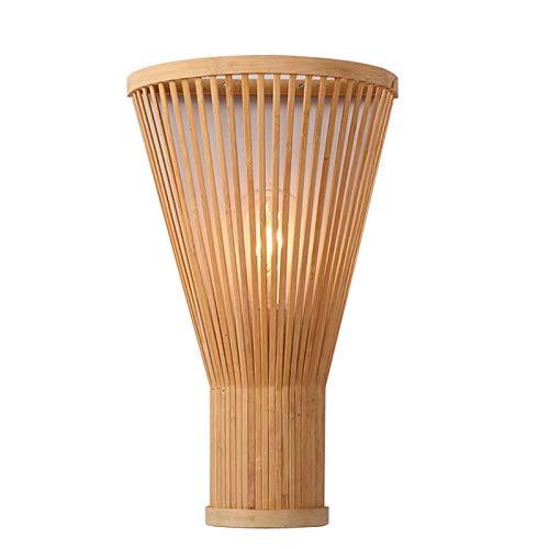 YXNKK E27 Aplique de Pared Interior Rústico Lámpara de Pared de Bambú de Mimbre Rattan Creativo Luces da pared Decoración para Dormitorio Corredor Escalera Pasillo (Sin Bombilla)