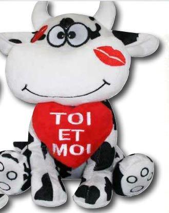 Peluche Vache Message 30x23cm Toi Et Moi