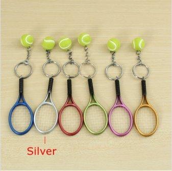 C-FUNN Multi-Couleur Sport Balle De Tennis Raquette Porte-Clés Porte-Clés Collectable-Silver