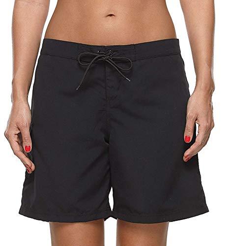 Anwell Damen Bademode Badehose Shorts Sporthose Yogahosen Fitnesshose mit Waistband, 38, Schwarz (L - Herstellergrosse)