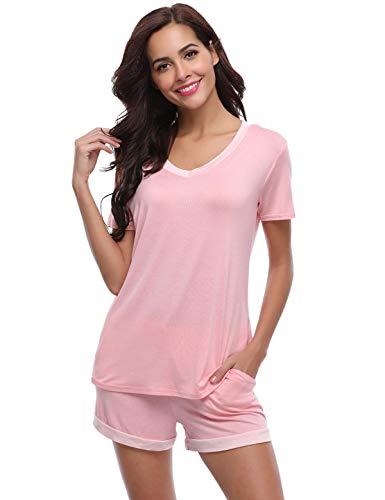 Abollria Pyjama Damen Kurz Schlafanzug Baumwolle Nachtwäsche V-Ausschnitt Basic Sleepwear Zweiteilige Schlafanzug Hausanzug Mit Negligee Shorts & Shirt mit für Sommer