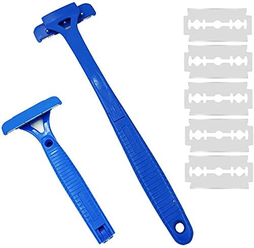 Afeitadora Espalda Afeitadora Corporal para Hombres, Depilación Corporal con Mango Largo 25-45 cm Ajustable, Curvo DIY Peluquero Afeitadora Sin Dolor 5 cuchillas adicionales incluidas
