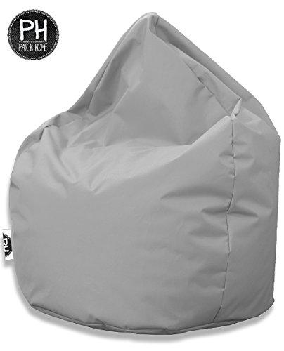 Patchhome Sitzsack Tropfenform Grau für In & Outdoor XXL 420 Liter - mit Styropor Füllung in 25 versch. Farben und 3 Größen