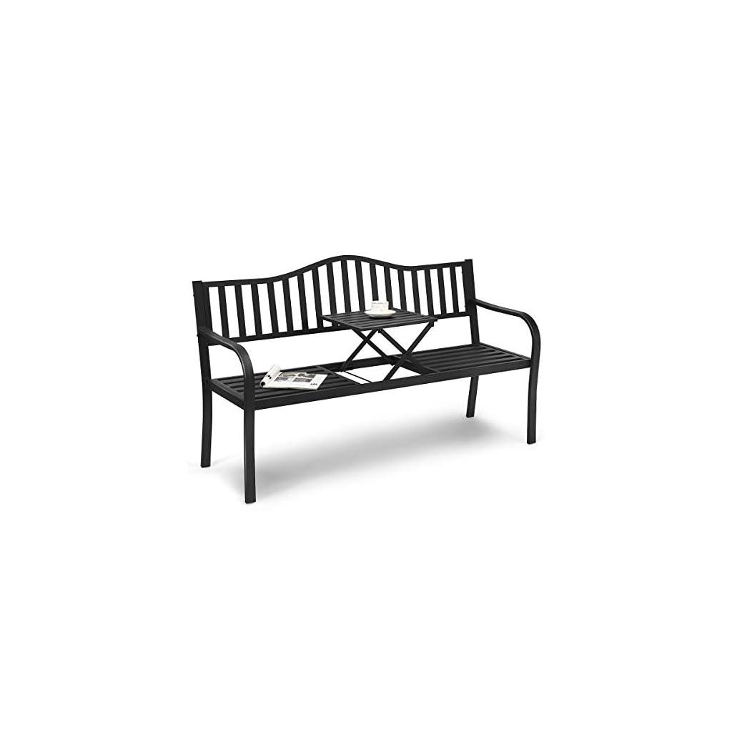 GOPLUS Banc de Jardin, Banquette de Parc pour 2-3 Personnes en Fer avec Accoudoirs, Table Centrale Pliable, Meuble de…
