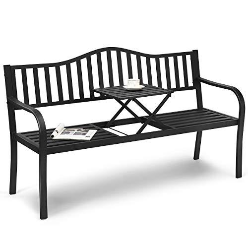 COSTWAY Gartenbank mit ausziehbarem Mitteltisch, Eisenbank mit rostbeständigem Gestell, Sitzbank mit Armlehnen, Parkbank Terrassenbank Bank für...