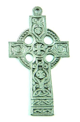 PlanetZia Beautiful Rare 3 inch Celtic Knots Ancient Antique Silver Cross Pendant TVT-QCCS