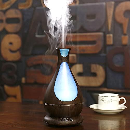 YinQin Aroma Diffusor 400ML Luftbefeuchter Ultraschall Aromatherapie Humidifier Essential Oil Duftöldiffusoren mit 7-LED Licht für Spa Home Baby Zimmer Schlafzimmer, Büro (Dunkle Holzmaserung)