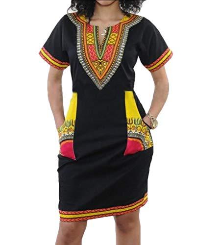 ChengZhong Vestido de Fiesta para Mujer, Sexy, Cuello en V, Manga Corta, Estampado Africano 1 XL