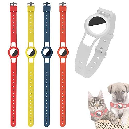 EXEDSCEND Cubierta de Conjunto de protección de Silicona para Airtag Pet Dog Cat Ajustable Cuello Correa Pulsera Diseño Localizador de Seguimiento Pulsera para niños, Multifuncional Anti-perdida