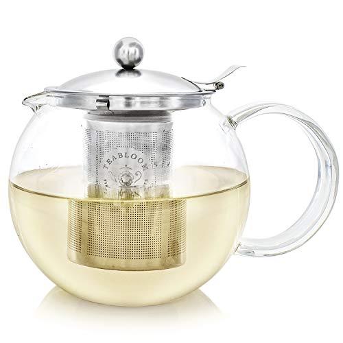 Teabloom Classica Teiera per Uso Quotidiano - Teiera in Vetro per Fornello - Capacità 1200 ml - Infusore in Acciaio Inox Removibile