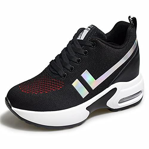 AONEGOLD® Damskie trampki tenisówki ukryta koturna oddychające siateczkowe wygodne sznurowane buty do chodzenia na co dzień, - Czerwony Czarny - 34.5 EU