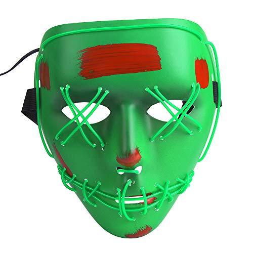 Tbest Máscara LED de Halloween, máscara de Disfraces de Miedo Payasos Máscaras con Tiras LED 3 Modos de luz (Verde)